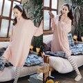 Новый 2016 весна розовый с длинным рукавом шелк молока пижамы комфортно эластичность досуг пижамы loungewear костюмы