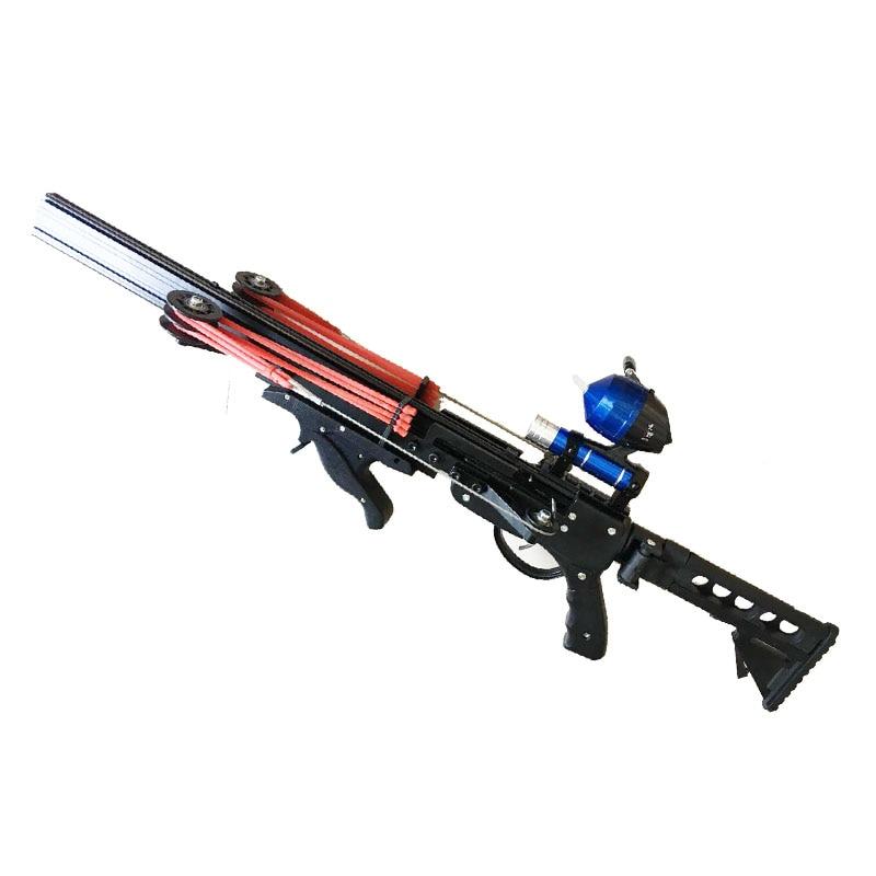 Tirachinas semiautomático para caza, pesca, potente catapulta, arreglo, carrete, multifunción, bola de acero, munición, flecha, disparo continuo