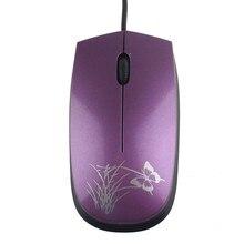 Мода USB 2.0 Проводная оптическая мини-led Мыши для ПК и портативных компьютеров 222B проводной бабочка мышь