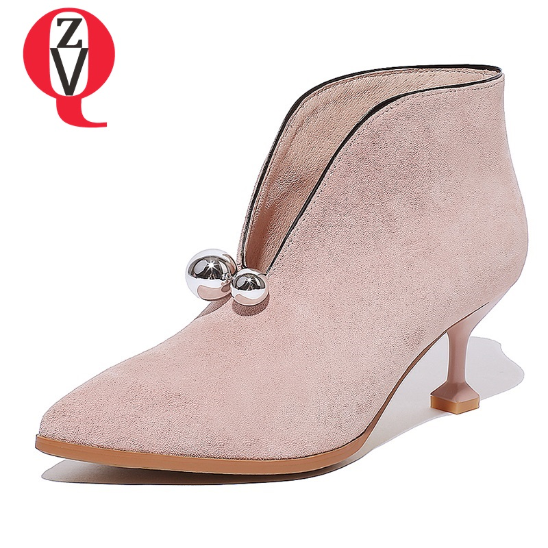 ZVQ Genuino cuero elegante botines 6.5 cm tacones altos 2018 Primavera otoño moda sexy Pigskin Strange Style Flock mujer botas
