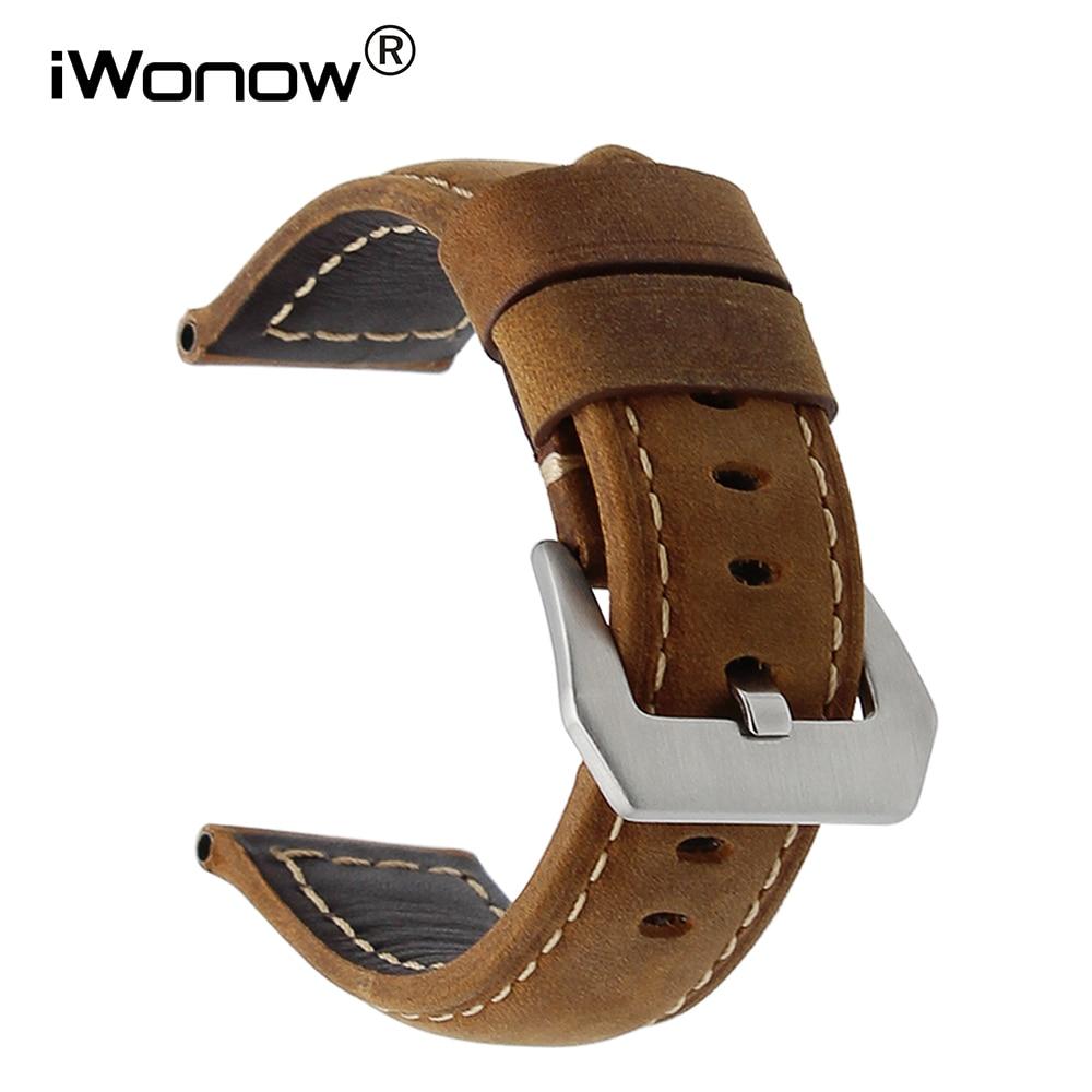 купить 24mm Italian Calf Genuine Leather Watch Band Handmade for Panerai PAM Luminor Radiomir 316L Stainless Steel Buckle Wrist Strap по цене 788.41 рублей