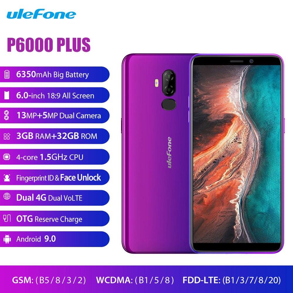 Купить Ulefone P6000 Plus 4G LTE мобильный телефон Android 9,0 6350 мАч смартфон 6,0 дюймов Лицо ID двойная камера четырехъядерный 3 ГБ 32 ГБ мобильный телефон на Алиэкспресс