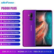 Ulefone P6000 בתוספת 4G LTE הסלולר אנדרואיד 9.0 6350mAh Smartphone 6.0 אינץ פנים מזהה מצלמה כפולה Quad Core 3GB 32GB נייד טלפון