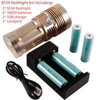 SF34 13 Gift Set Powerful LED Flashlight 10000lm Cree Ultra Bright Flashlight Portable LED Torcia 4