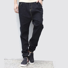 2016 мужская мода черный осень и весна гарем джинсы тонкий карандаш мужчины тощий случайные джинсы мужские конические брюки