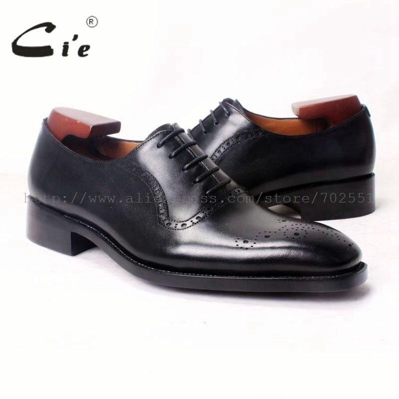 Cie квадратный носок ручной работы из натуральной телячьей кожи дышащие Для мужчин Оксфорд Платье Обуви Цвет черный OX376 Goodyear Welted