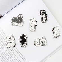 Купить с кэшбэком 4 pcs Cartoon doge dog magnet bookmarks Mini magnetic clips book marker Stationery Office School supplies Material escolar F166