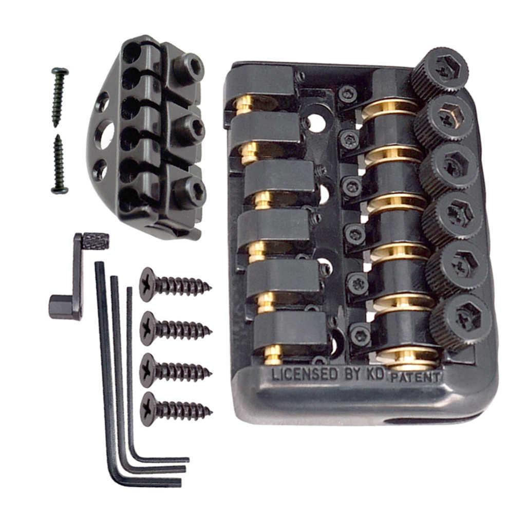 Dayanıklı başsız elektrik gitar değiştirme köprü rulo top somun araçları ile montaj vidaları gitar sabit köprü parçaları siyah