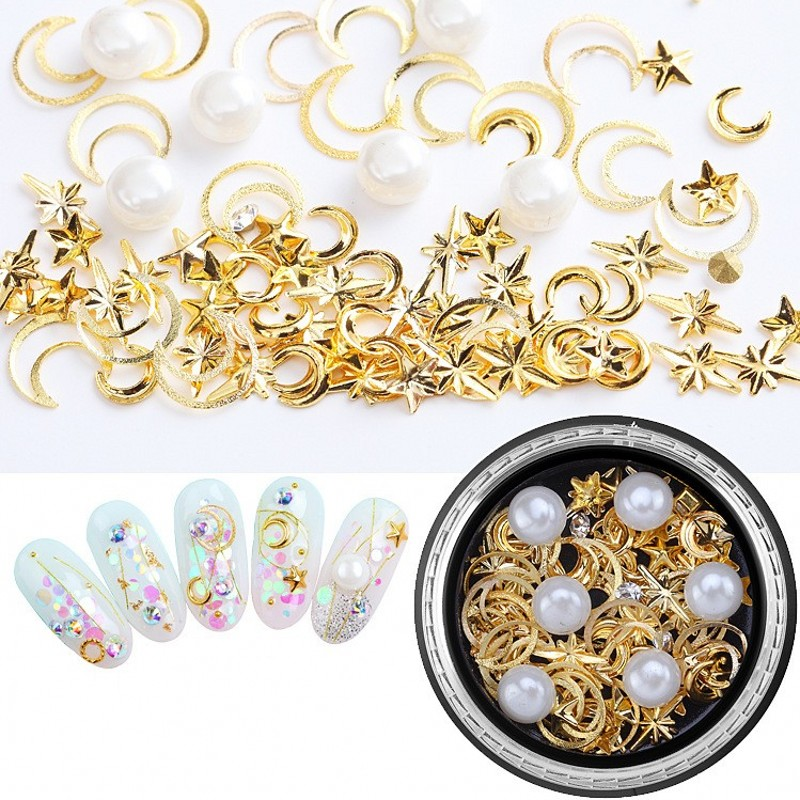 1 Box Moon Stars Nail Art Rivets Studs Mix With Crystal AB Rhinestones Tips Manicure Charms UV Gel 3D Nail Decorations 9 Styles in Rhinestones Decorations from Beauty Health