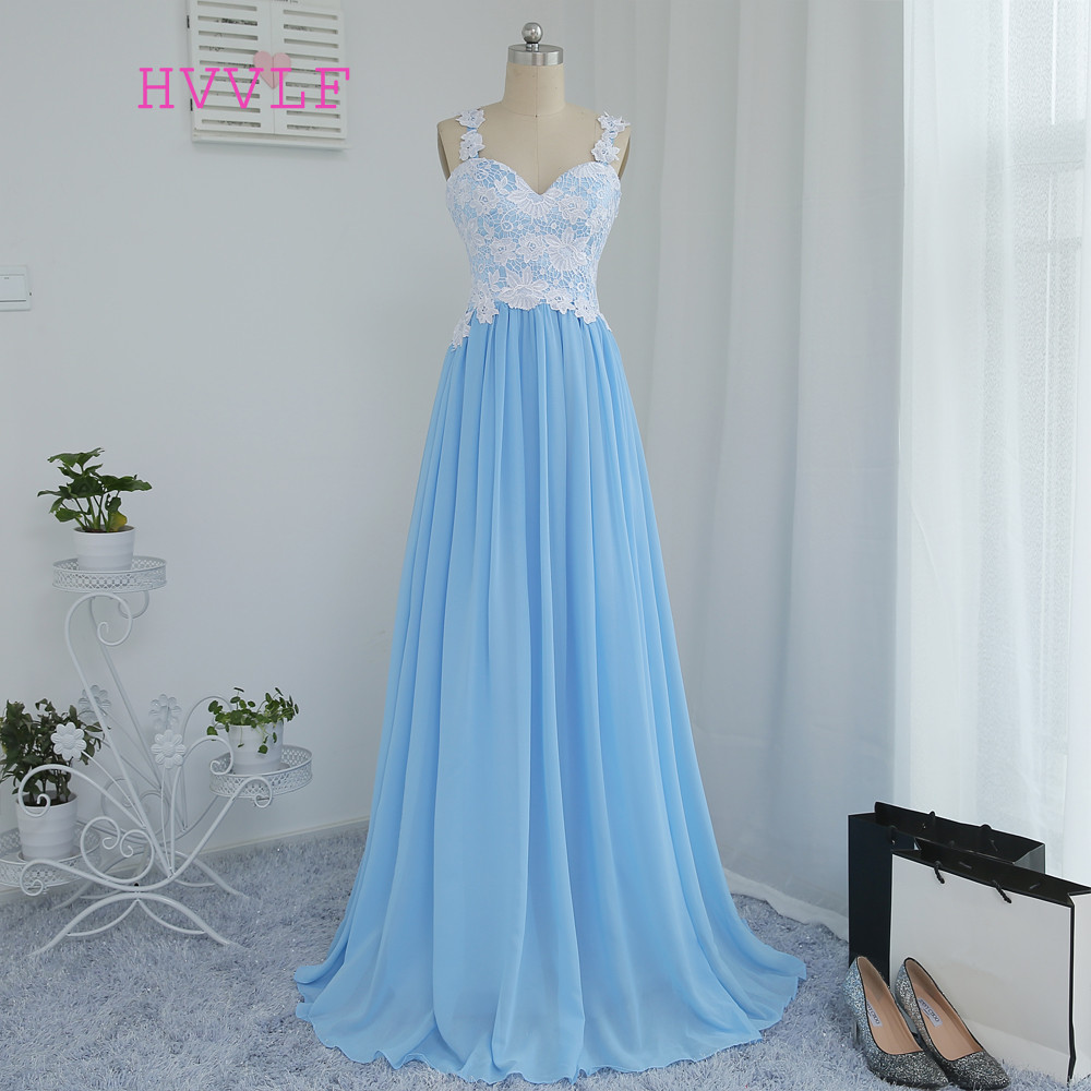 HVVLF Sky Blue 2019   Prom     Dresses   A-line Spaghetti Straps Chiffon Appliques Lace Long   Prom   Gown Evening   Dresses   Evening Gown