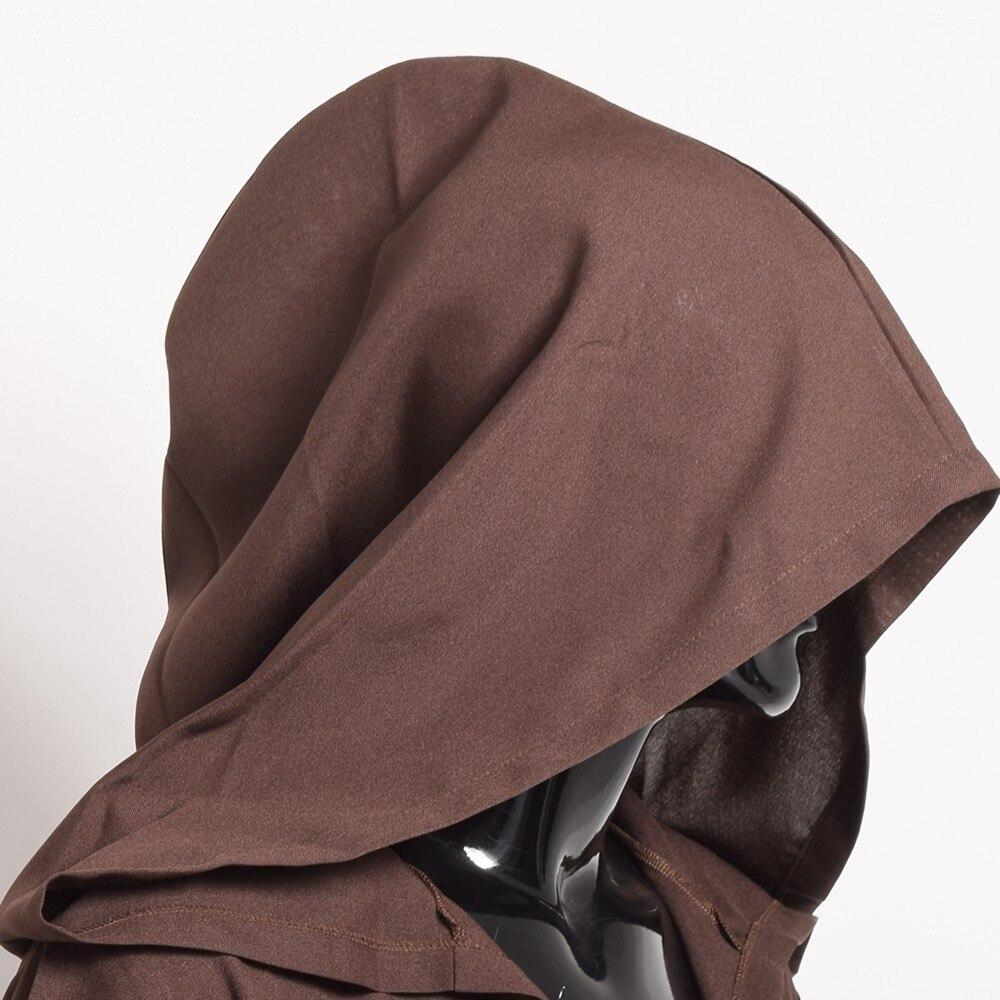 Unisex Women Men Brown Black Hooded Halloween Cloak Medieval Knights Wizard Cool Cape Cosplay Costume