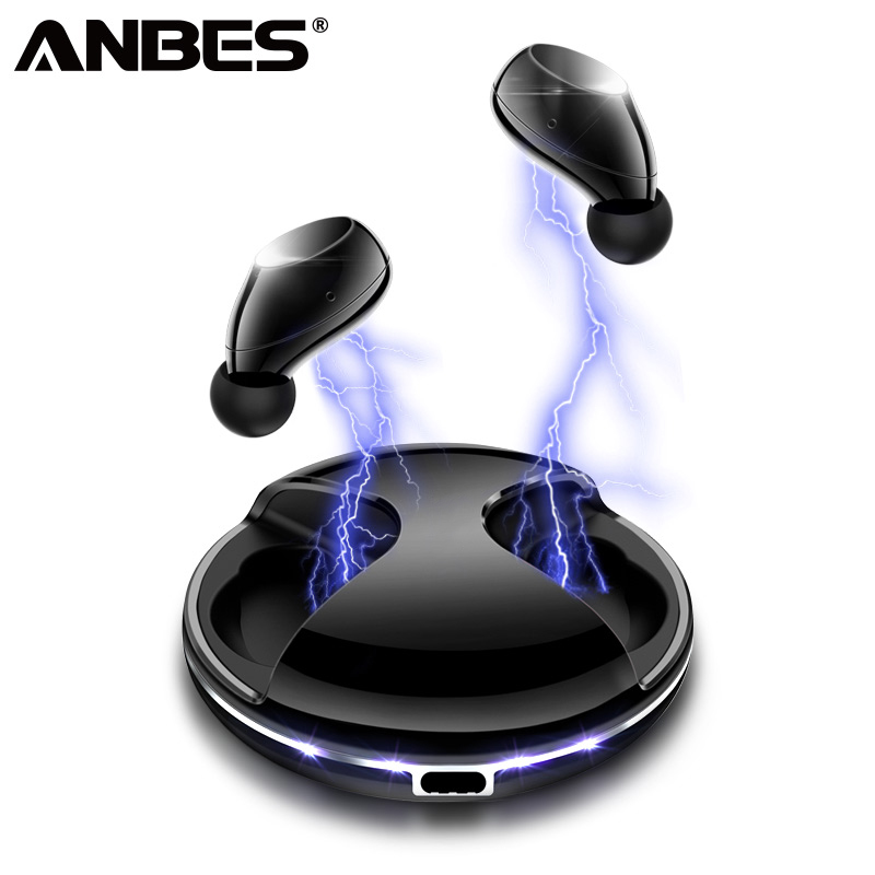 ANBES TWS V5 0 Bluetooth Earphone Wireless IPX 5 Waterproof Earbuds With Mic Portable HiFi Deep