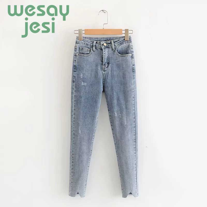 New jeans women high street vintage casual regular pants denim pants blue Mid waist pencil jeans for women plus size in Jeans from Women 39 s Clothing