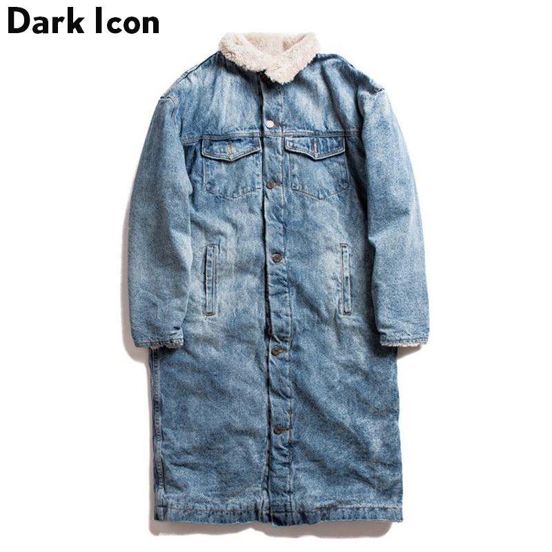 Темно-значок кашемир внутри джинсовые длинные куртки мужчины женщины