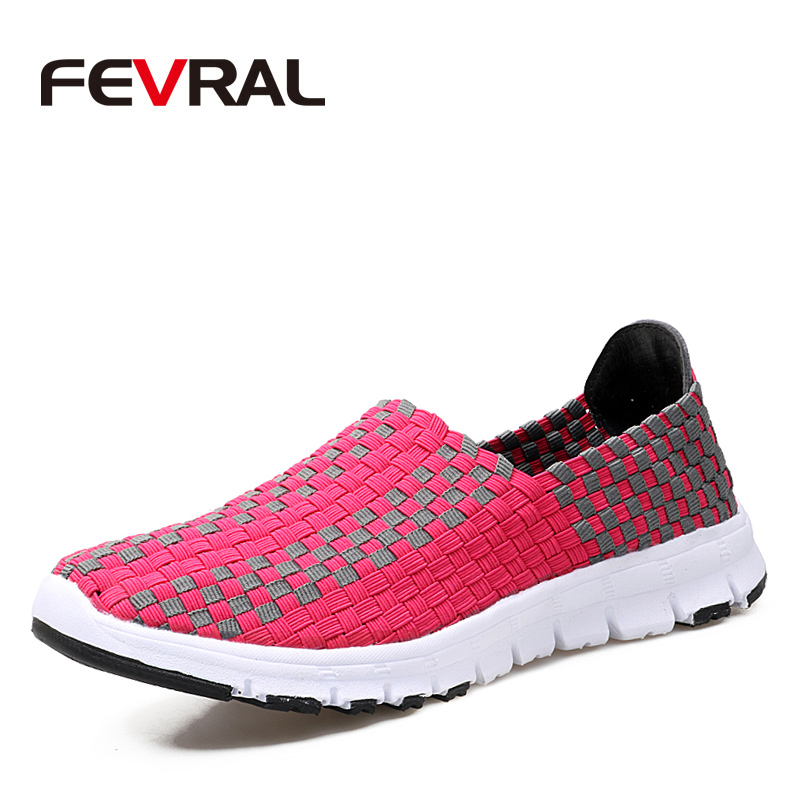 FEVRAL Women Shoes Summer Flat Female Loafers Women Casual Flats Woven Shoes Sneakers Slip On Colorful Shoe Mujer Size 35-40 summer sneakers fashion shoes woman flats casual mesh flat shoes designer female loafers shoes for women zapatillas mujer