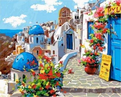 Spring in Santorini Digital Diy oil painting by numbers wall decor ...