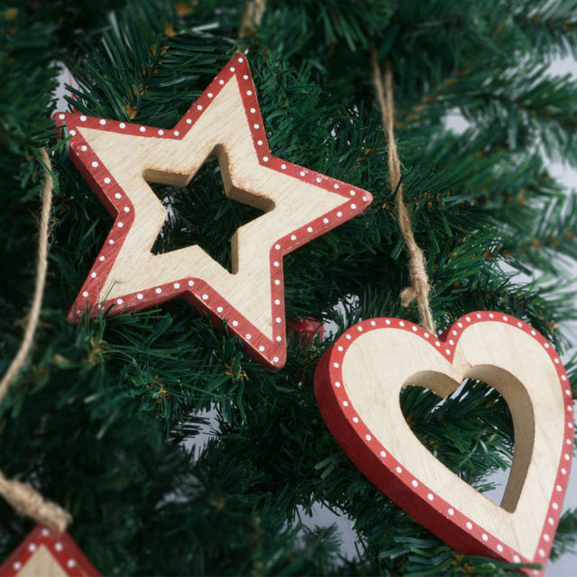 christmas tree decoration supplies wood christmas star heart hanging ornament outdoor christmas pendant free shipping