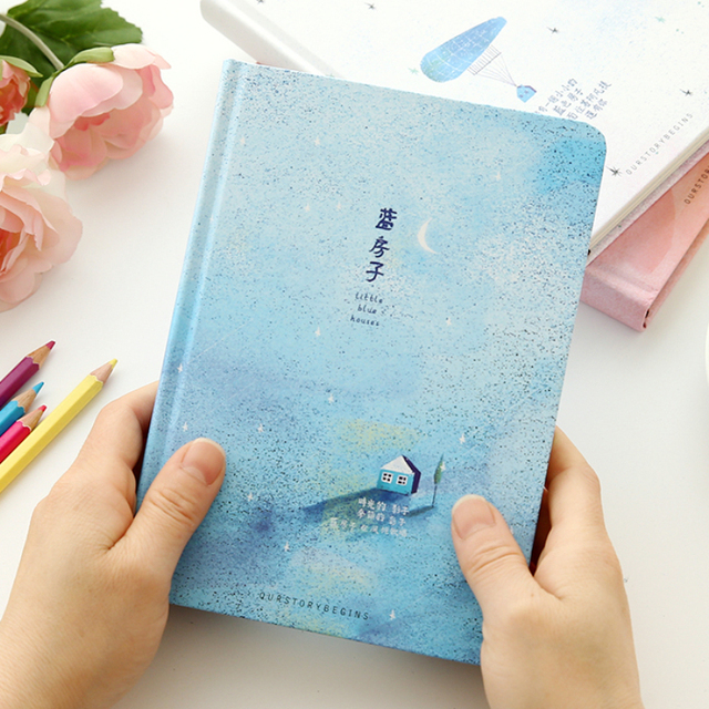 beautiful color pages notebook little blue house diary book korea stationery school supplies