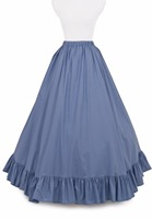 Blue Civil War Cotton Skirt Victorian French Pleated Gathered Bustle Skirts