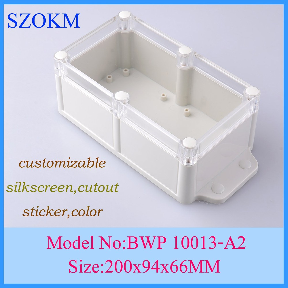4 pcslot electrical distribution box abs project box plastic electronics enclosure project boxes 200x94x66mm