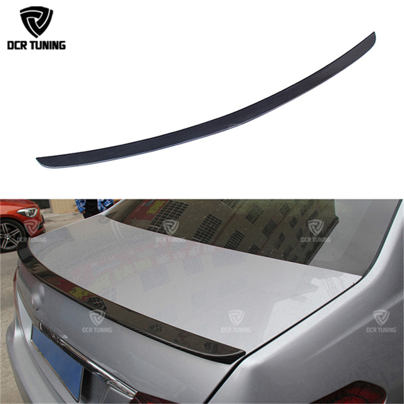 AMG Style For Mercedes W212 spoiler e class 4-Door sedan e200 e250 e260 e63 carbon fiber rear trunk spoiler wing 2010 - 2016 hot car abs chrome carbon fiber rear door wing tail spoiler frame plate trim for honda civic 10th sedan 2016 2017 2018 1pcs