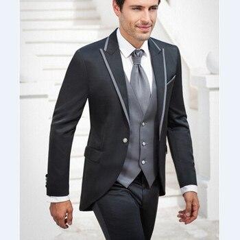 New Arrival 2017 Groomsmen Peak Lapel Groom Tuxedos grey tuxedos for men Suits Wedding Best Man Blazer (Jacket+Pants+Tie+Vest)