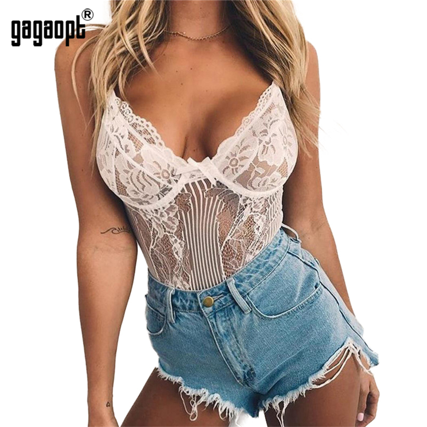 Sexy Bodysuit Women Bow Tie Floral Embroidery Hollow Out Lace Bodysuit Black White Jumpsuit Summer Overalls