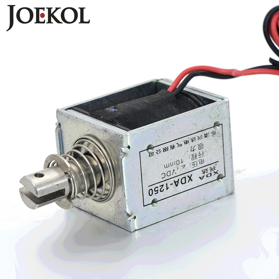 JK-1250 DC 12V or 24V push-pull Type Open Frame Linear DC Solenoid Electromagnet Suction 60N 10mm Holding цены онлайн