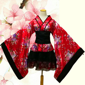 Image 5 - ליל כל הקדושים נשים קוספליי תלבושות אלגנטי סאקורה חליפת הדפסת פרח נשי חלוק שמלת יפני סגנון Vintage ליידי גיישה קימונו