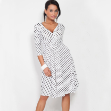 YJ Fashion Plus Size Women 2016 Spring Summer Lady Polka Dot Office Work OL Dress Casual Vintage Tunic Stretchy Maternity Dress plus size polka dot floral tunic tank top