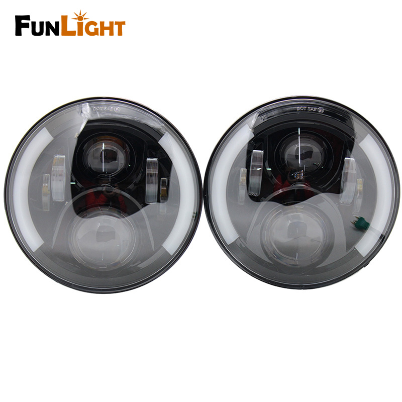 7 Inch Round Daymaker Projector H4 LED Headlight For Jeep Wrangler JK TJ LJ 7 Halo Angel Eye Turn Signal Light Driving Headlamp