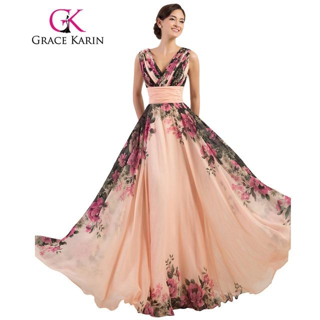 Grace karin prom dress longo flor impresso barato vestido do baile de finalistas a line chiffon new arrival real photo vestidos especiais da ocasião 2017