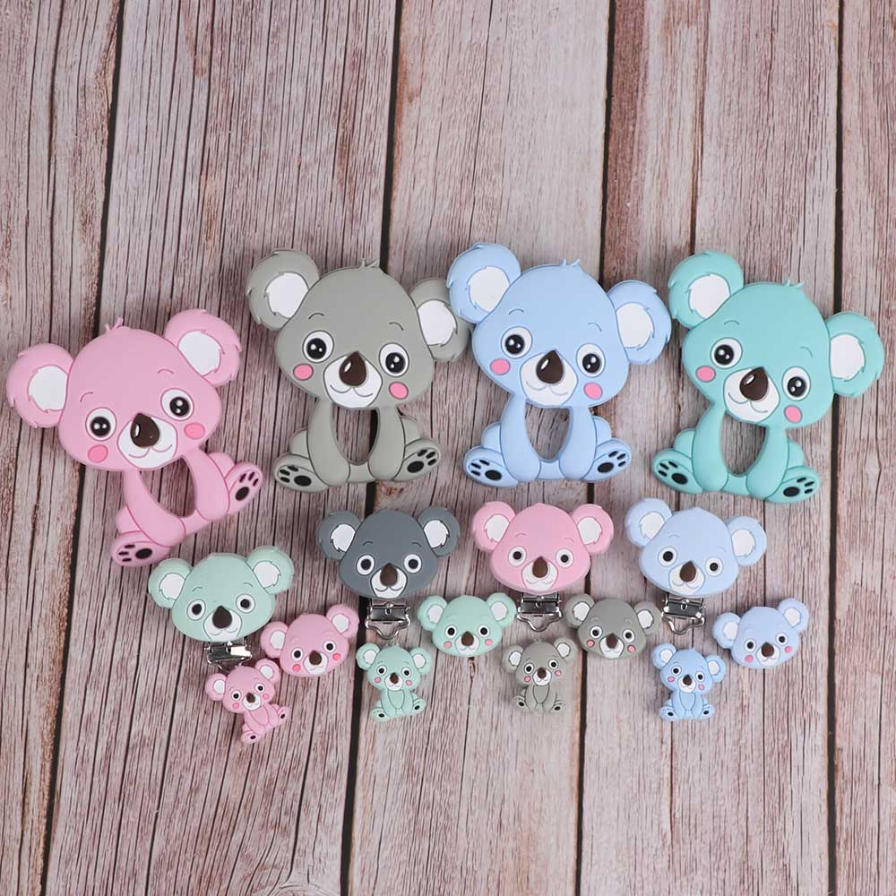 TYTY.HU Koala Silicone Teether Beads Pacifier Clips BPA Free Teethers Teething Ring Rattle Chew Silicone