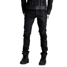 Punk Dark Black Color Jean Pants Men 2017 Fashion Gothic Fitted Long Trousers Pencil Pants With Rivets On The Side K-136