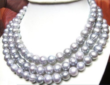 50″ AAA+ 11-13MM South Sea Gray natural Pearl Necklace  yellow golden >ePacket free shipping