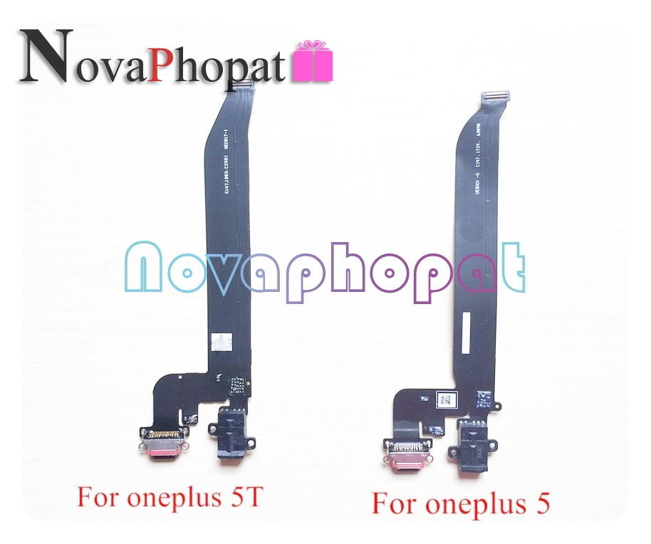 Novaphopat For Oneplus 1+ 5 A5000 / 5T A5010 X 2 3 3T 6 6T Dock Connector USB Charger Charging Port Flex Cable Module +tracking