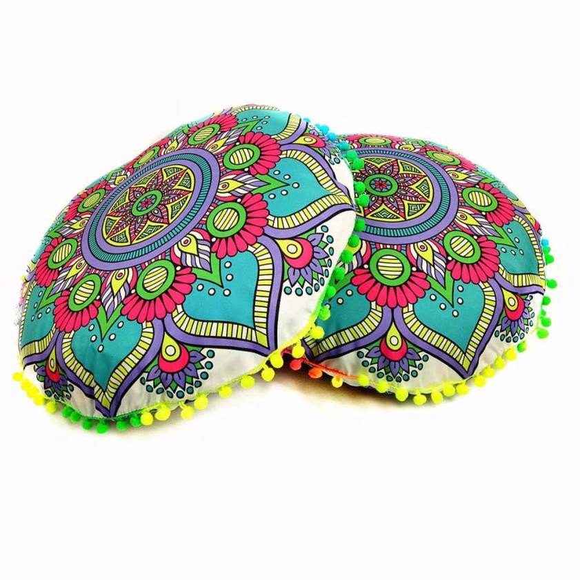 Indian valentines day pillow Mandala Floor Pillows Round Bohemian Cushion Pillows Cover Case Cushions almofadas