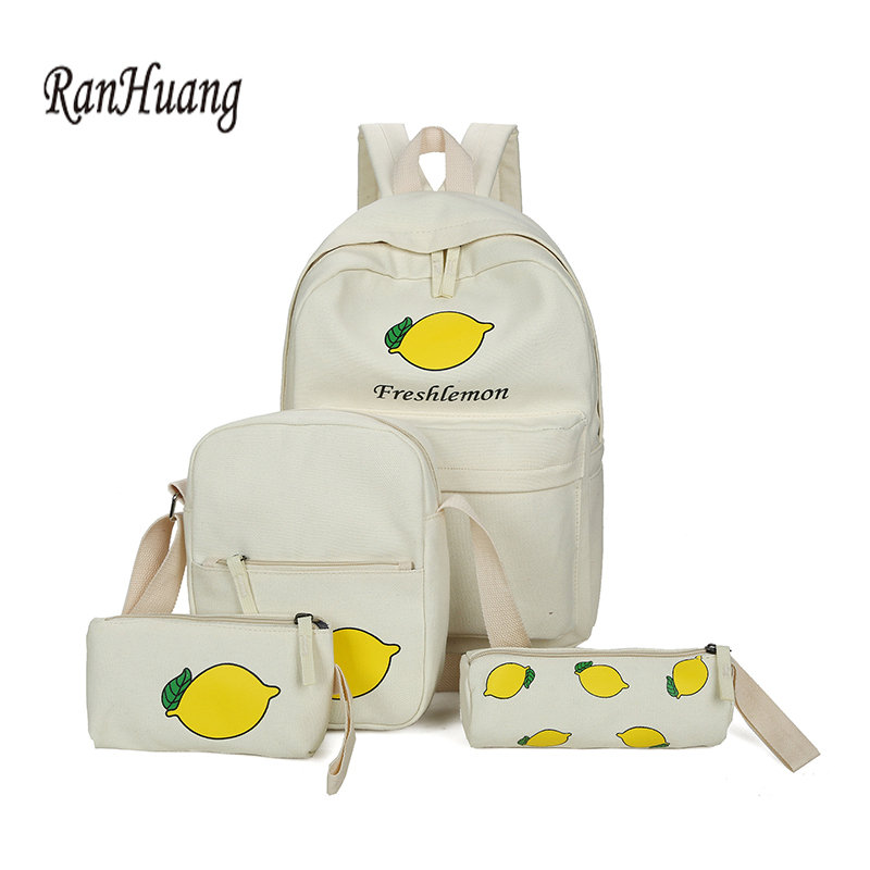5ad98157fd RanHuang 2017 Casual Women Canvas Backpack Fruit Printing Backpack Preppy  Style School Bags For Teenage Girls