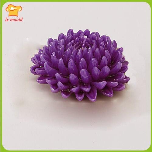 Chrysanthème fleur décoration de la maison bougie doux silicone moule résine argile TaoHua moule décoration de gâteau moule de sucrerie savon moule