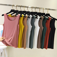 Female Seamless Vest O-Neck Summer 2019 Modal Strap Vest Basic Shirt Plus Size Thin Sleeveless Tank Tops Bottoming Shirt Camisoles