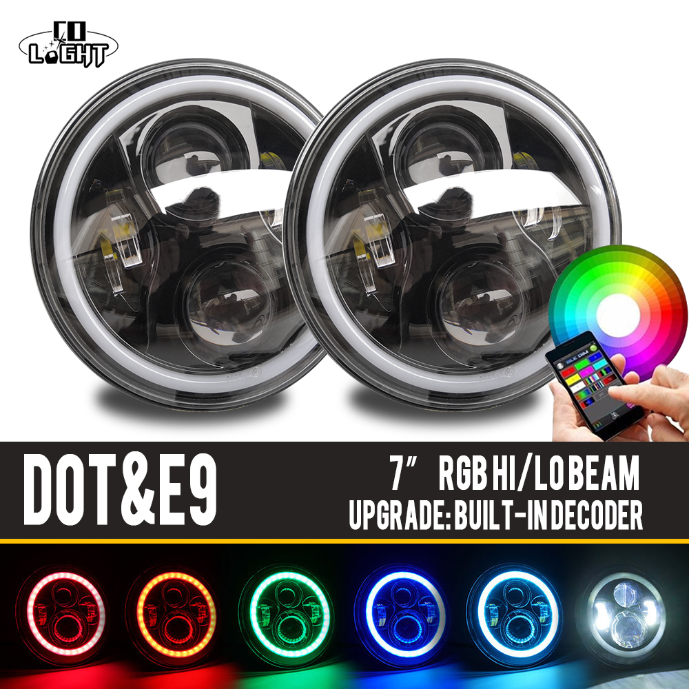 COLIGHT 7 Inch Round Led Headlight Led 12V With Angel Eyes RGB Light for Jeep JK LJ CJ Hummer Lada Niva Uaz 4X4 4wd Car Styling 2pcs 2017 new design 7 inch 40w motorcycle led auto angel eyes led headlight bulb with high quality