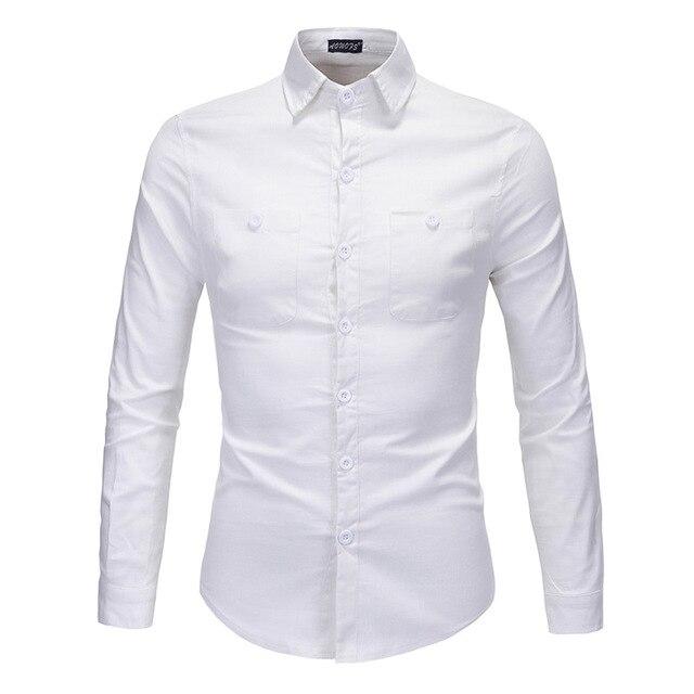 2016 Новая Мода Случайные Люди Рубашка С Длинным Рукавом Slim Fit сплошной Цвет Белый Свет Кофе отложным Воротником Мужской Осень Зима рубашка
