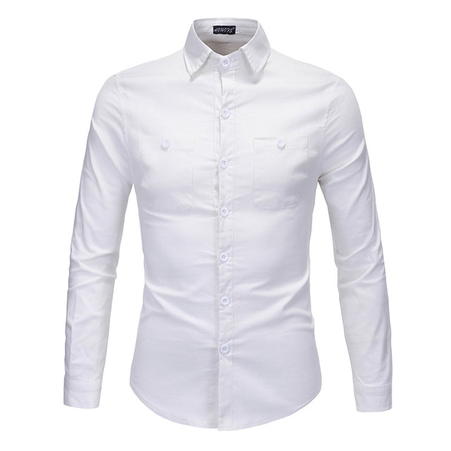 f83862e3bdcbd 2016 New Fashion Casual Men Shirt Long Sleeve Slim Fit Solid Color White  Light Coffee Turn