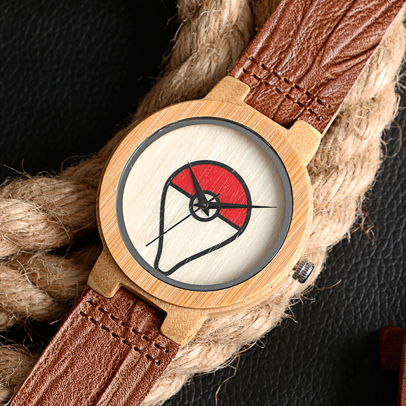 Modern Creative Wood Watch Pokemon Pokeball Bambusest lihtne ehtne - Meeste käekellad - Foto 3