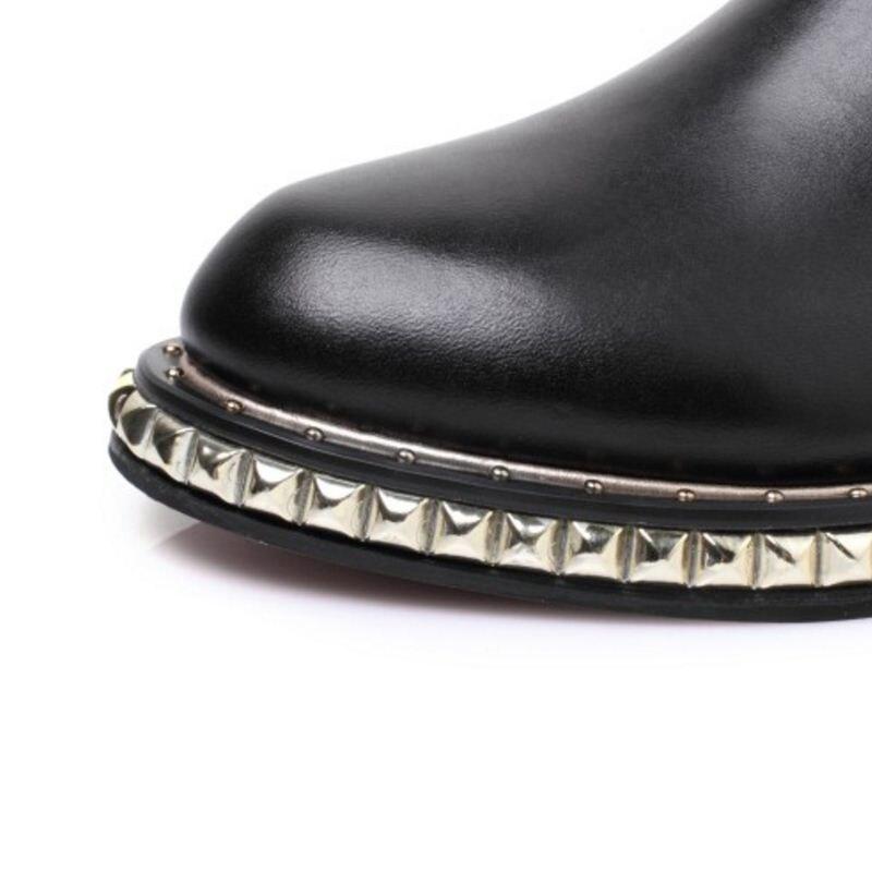 La black Bottes Femmes Mode Véritable Rizabina En Courtes Glissement Cuir Cheville 33 Rivets Élastique Chaussures Sur Black 40 1 2 Bande De Taille zwCxqx1d