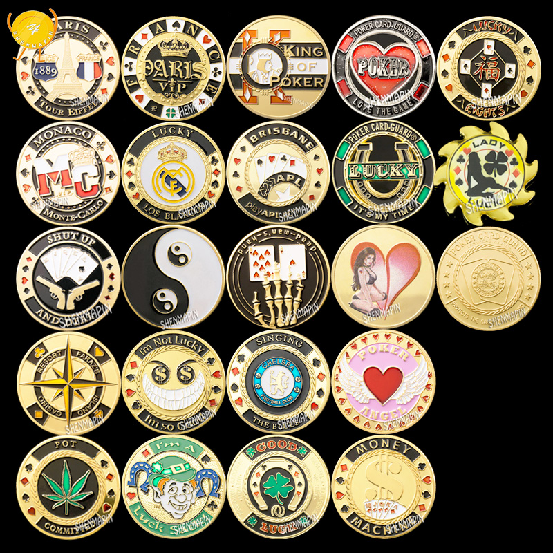 Poker Chips Gold Poker Commemorative Coin Las Vegas Poker Card Guard Coins Collectibles Protects the Cards in Your Hand 22pcs