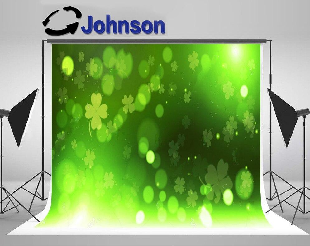 Фоне стены винил ткань высокого качества Компьютер печати Зеленый Клевер боке Счастливый День Святого Патрика фонов