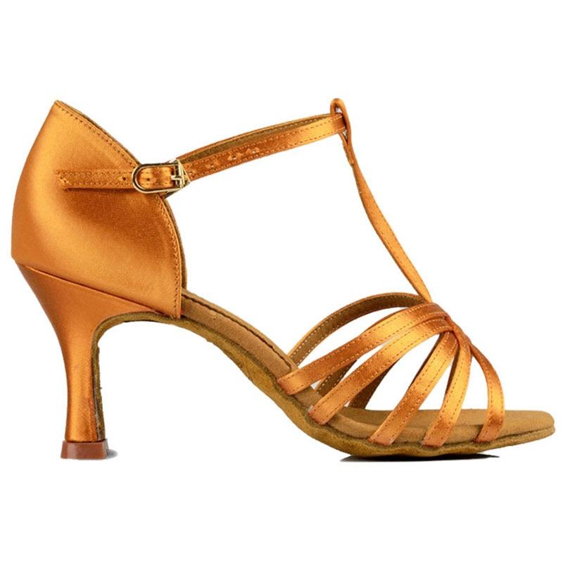 Women Latin Dance Shoes BD 217 Dark Tan Satin High Heel Ladies Ballroom Dance Flared Slim