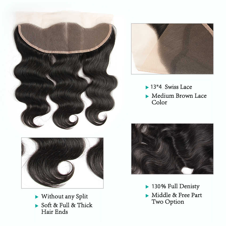 Ali Grace Hair 3 Bundles Cambodian Body Wave With Closure 100% Remy Human Hair Extension With 13*4 Free Part Ear to Ear Frontal