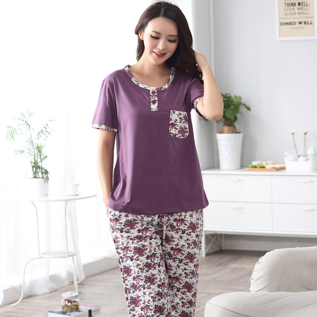 463c7a841 € 16.11 30% de DESCUENTO|Moda 2019 verano pijamas de algodón para mujer  conjunto pequeño Floral ropa de dormir para mujer de manga corta talla ...